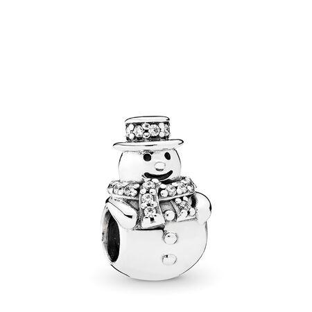 Snowman Charm, Clear CZ