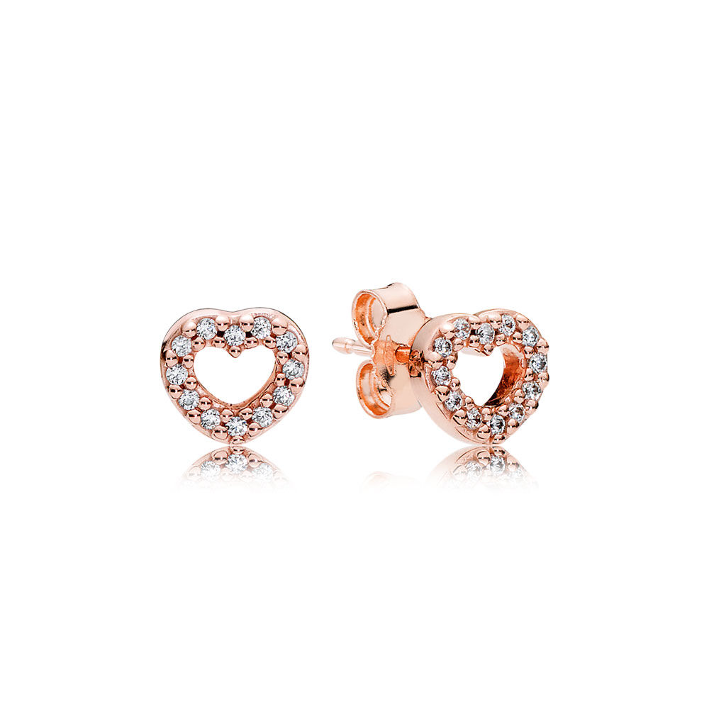 Captured Hearts Stud Earrings Pandora Rose Clear Cz