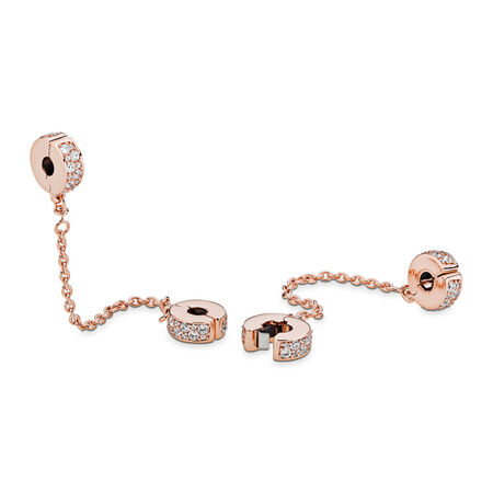 Shining Elegance Safety Chain, PANDORA Rose™ & Clear CZ