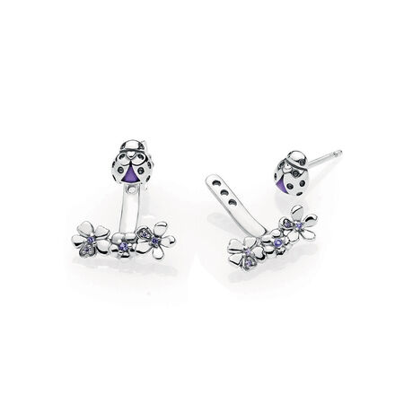 Ladybug Meadow Jacket Earrings, Purple Enamel & CZ
