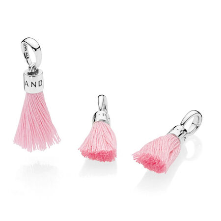 Bright Pink Fabric Tassel Dangle Charm