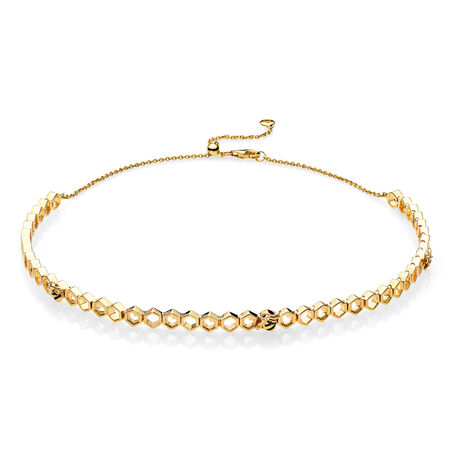 Limited Edition PANDORA Honeybee Choker, PANDORA Shine™, 18ct Gold Plated, Enamel, Black - PANDORA - #367126EN16