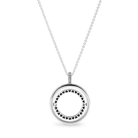 Spinning Hearts of PANDORA Necklace, Clear CZ