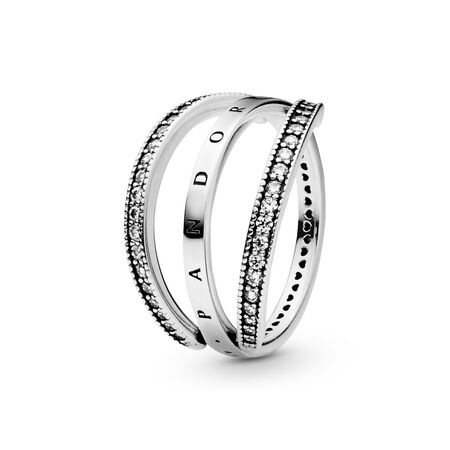 Flipping Hearts of PANDORA Ring, Clear CZ