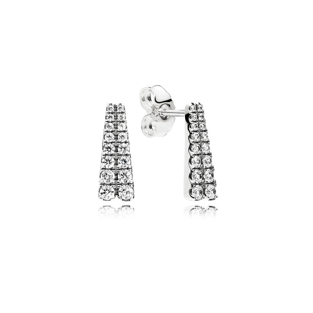 Shooting Stars Stud Earrings Clear Cz