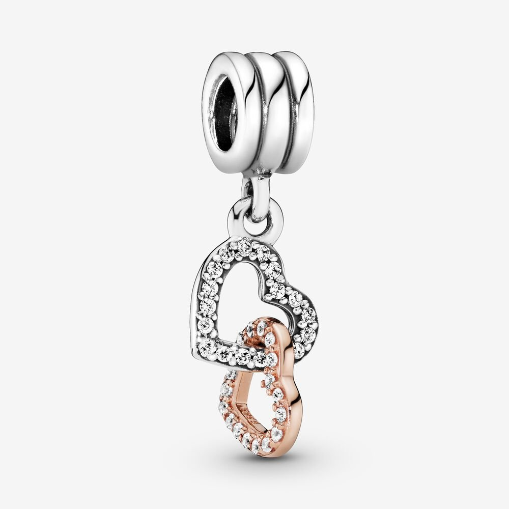 Interlocking Hearts Dangle Charm