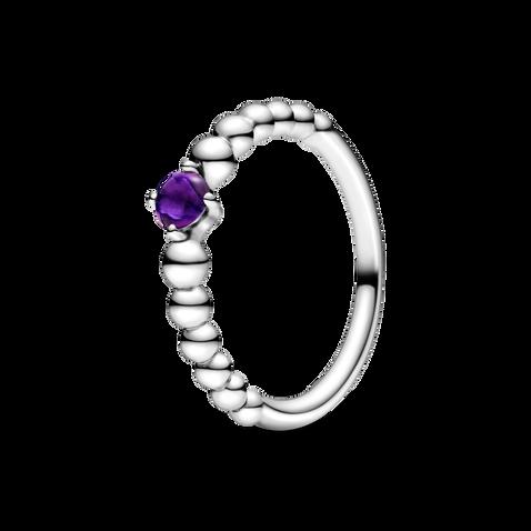 February Purple Beaded Ring