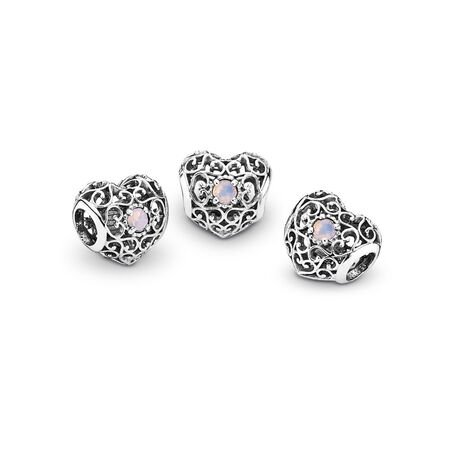 October Signature Heart Charm, Opalescent Pink Crystal, Sterling silver, Pink, Crystal - PANDORA - #791784NOP