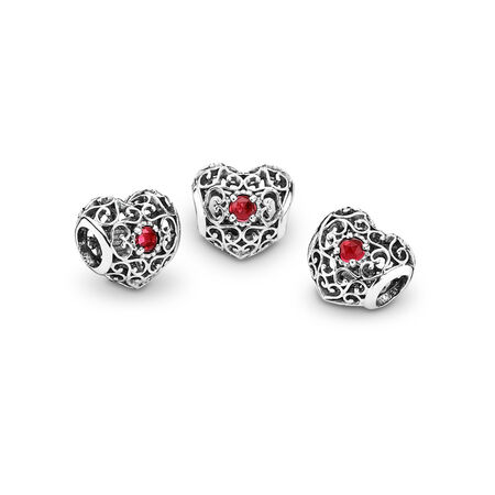 July Signature Heart Charm, Synthetic Ruby, Sterling silver, Red, Synthetic Ruby - PANDORA - #791784SRU