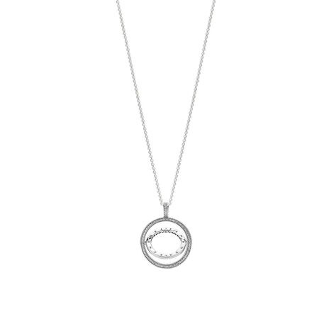 Spinning Hearts of PANDORA Necklace, Clear CZ, Sterling silver, Silicone, Cubic Zirconia - PANDORA - #397410CZ-60