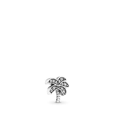 Sparkling Palm Tree Petite Locket Charm, Sterling silver, Cubic Zirconia - PANDORA - #792182CZ