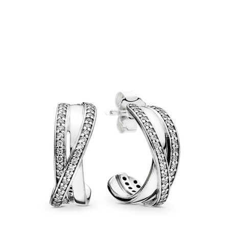 0ce80a73a Entwined Hoop Earrings, Clear CZ Sterling silver, Cubic Zirconia