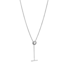 Pavé Circle Logo T-bar Heart Necklace