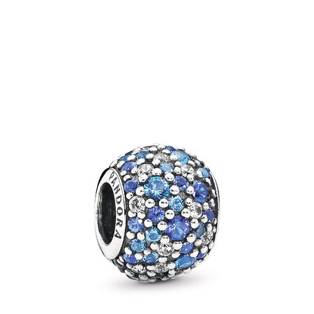 Sky Mosaic Pavé Charm, Mixed Blue Crystals & Clear CZ, Sterling silver, Blue, Mixed stones - PANDORA - #791261NSBMX