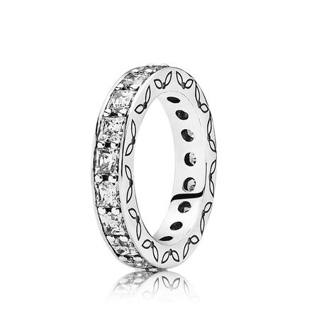 Infinity Stackable Ring, Clear CZ