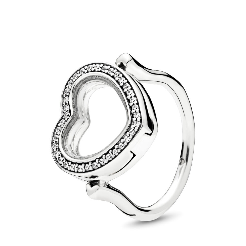 Sparkling Pandora Floating Heart Locket Ring Clear Cz Pandora