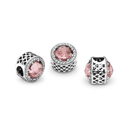Radiant Hearts Charm, Blush Pink Crystal & Clear CZ