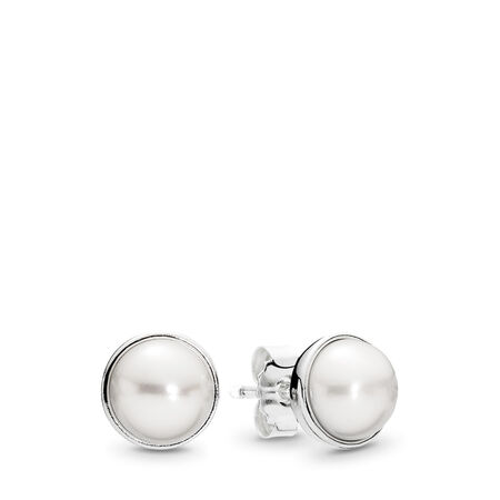 Elegant Beauty Stud Earrings, White Pearl, Sterling silver, White, Freshwater cultured pearl - PANDORA - #290727P