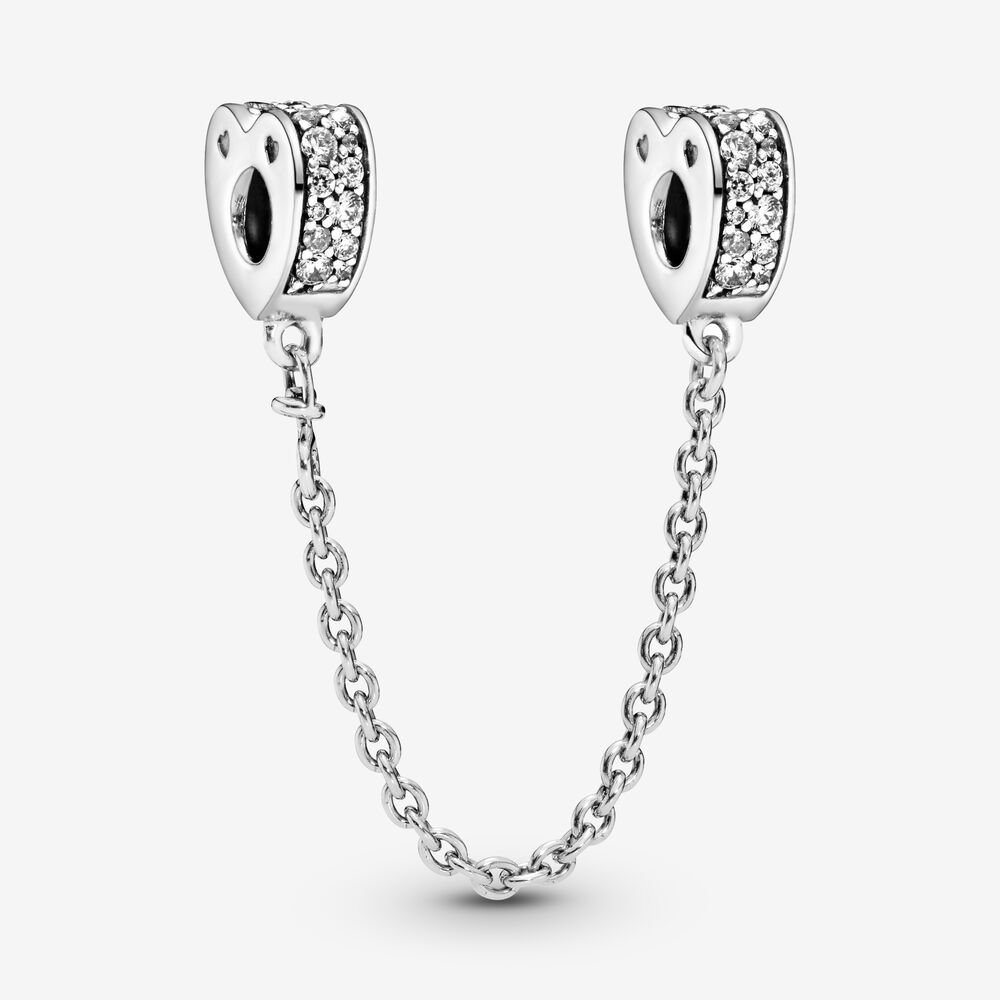 Clear Pavé Hearts Safety Chain Charm
