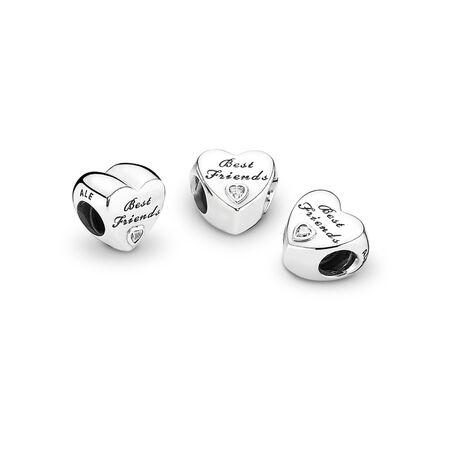Friendship Heart, Clear CZ, Sterling silver, Cubic Zirconia - PANDORA - #791727CZ