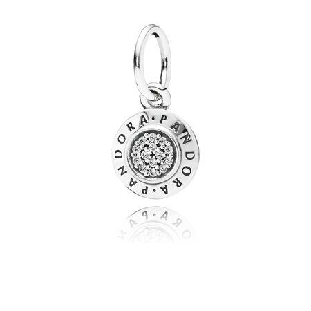 PANDORA Signature Pendant, Clear CZ, Sterling silver, Cubic Zirconia - PANDORA - #390359CZ
