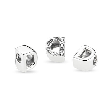 Letter D Charm, Sterling silver - PANDORA - #797458