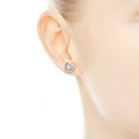 Luminous Love Knots Stud Earrings, White Crystal Pearl & Clear CZ