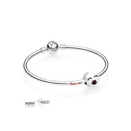 Kiss Me Bangle Gift Set, Sterling Silver, Red - PANDORA - #B800774