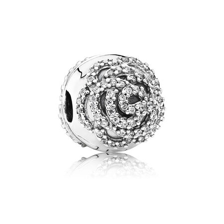 Shimmering Rose Clip, Clear CZ, Sterling silver, Cubic Zirconia - PANDORA - #791529CZ