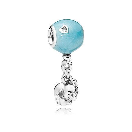 Elephant & Blue Balloon Dangle Charm, Blue Enamel & Clear CZ