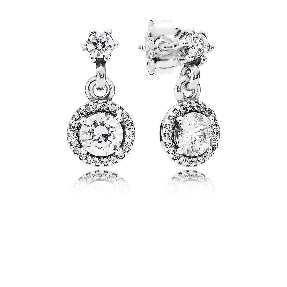 80b962339 Classic Elegance Drop Earrings, Clear CZ | PANDORA Jewelry US