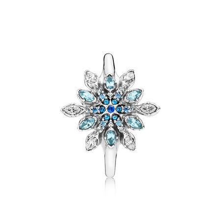 Crystalized Snowflake Ring, Blue Crystals & Clear CZ