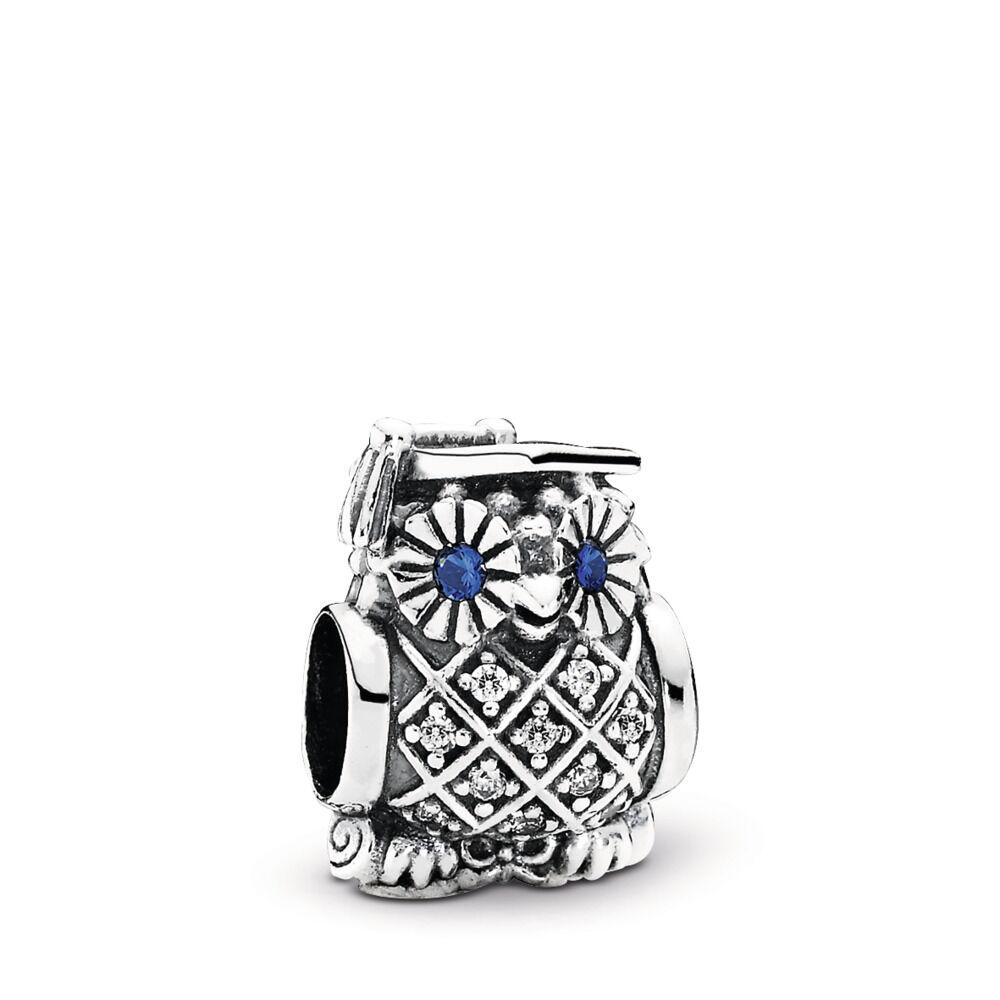 de7f1e36b Graduate Owl, Swiss Blue Crystal & Clear CZ, Sterling silver, Blue, Mixed