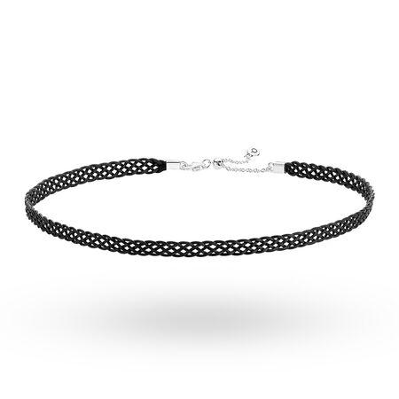 Woven Fabric Choker Necklace, Black