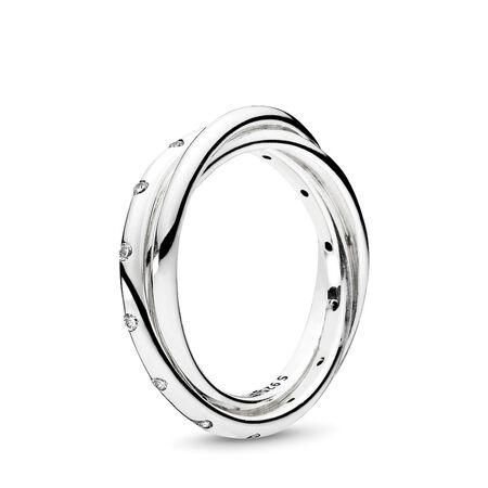 Swirling Symmetry Ring, Clear CZ