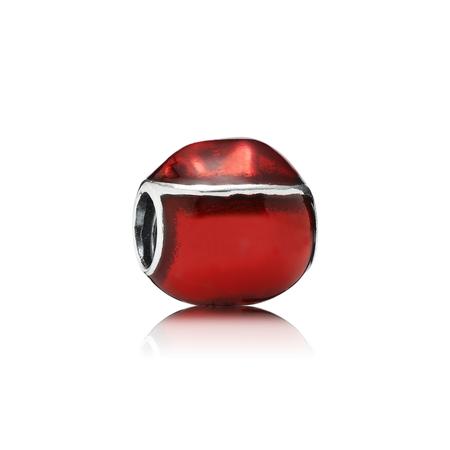 Jolly Santa Charm, Red & White Enamel