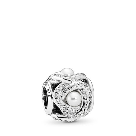 5e14deab5 Luminous Love Knot, White Crystal Pearl & Clear CZ Sterling silver, White,  Mixed stones
