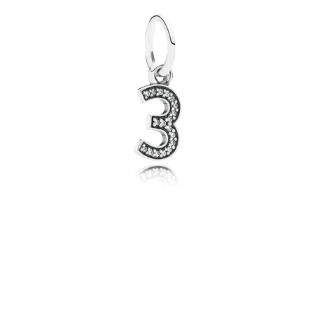 Number 3 Dangle Charm, Clear CZ