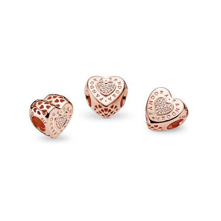 PANDORA Signature Heart Charm, PANDORA Rose™ & Clear CZ, PANDORA Rose, Cubic Zirconia - PANDORA - #787375CZ