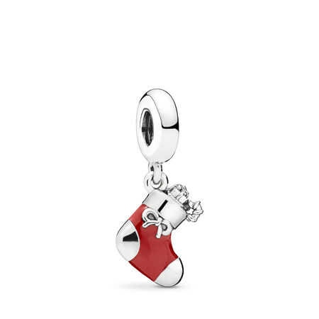 Festive Stocking Dangle Charm, Berry Red Enamel