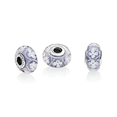 Purple Field of Flowers Charm, Murano Glass