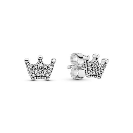 Enchanted Crowns Stud Earrings, Clear CZ, Sterling silver, Cubic Zirconia - PANDORA - #297127CZ