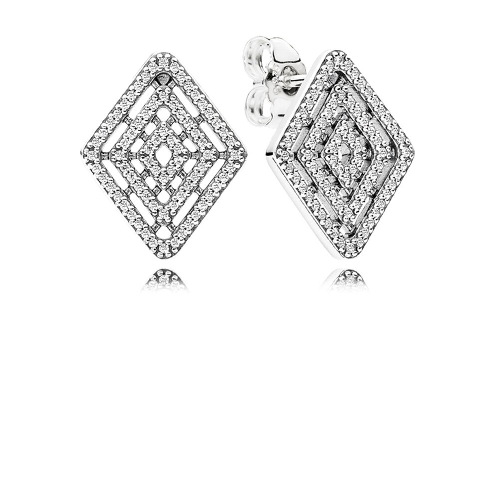 Geometric Lines Stud Earrings Clear Cz