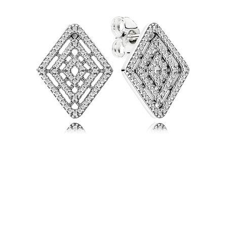 Geometric Lines Stud Earrings, Clear CZ