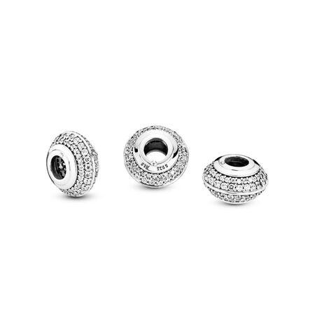 Sparkling Pavé Charm, Sterling silver, Cubic Zirconia - PANDORA - #798066CZ
