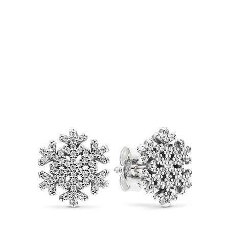 Snowflake Stud Earrings, Clear CZ
