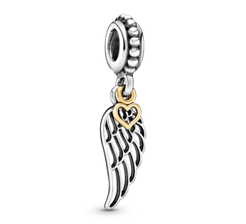 Angel Wing & Heart Dangle Charm