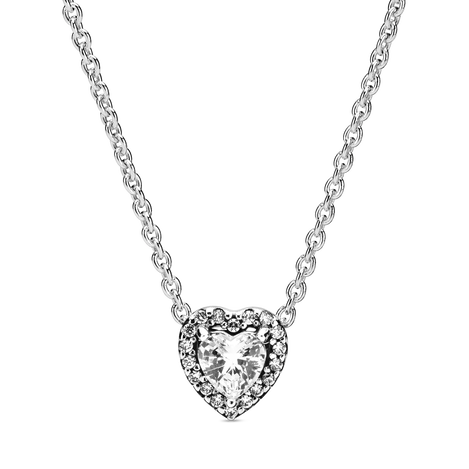 Heart sterling silver collier with clear cubic zirconia