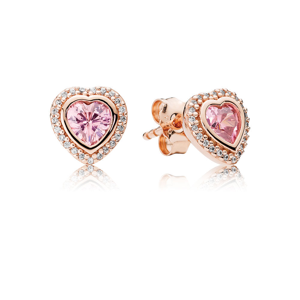 Sparkling Love Stud Earrings Pandora Rose Pink Clear Cz