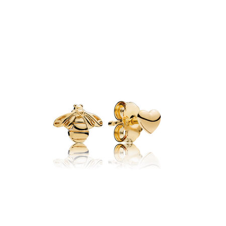 Heart & Bee Stud Earrings, PANDORA Shine™